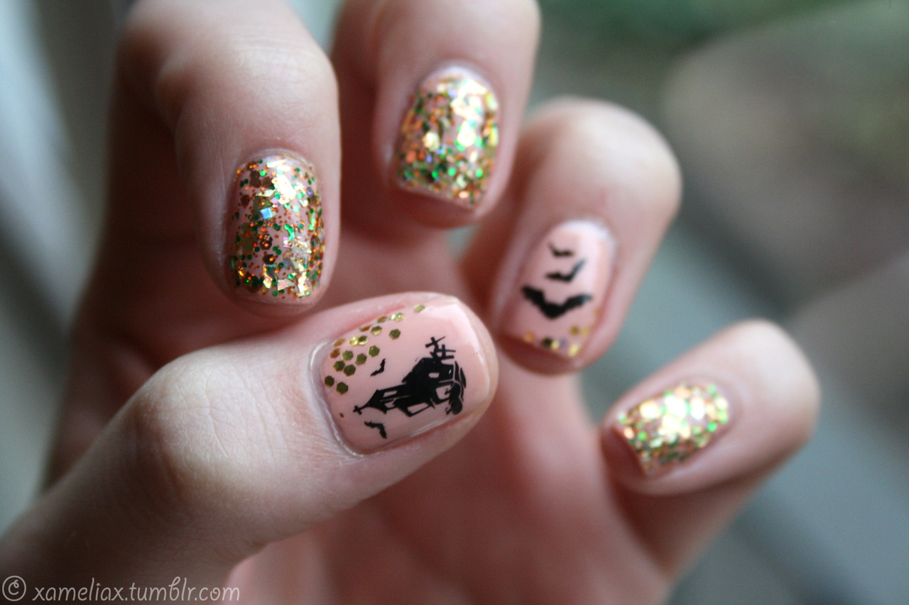 Ghouls and Gold Dust, Halloween Nail Art Ideas