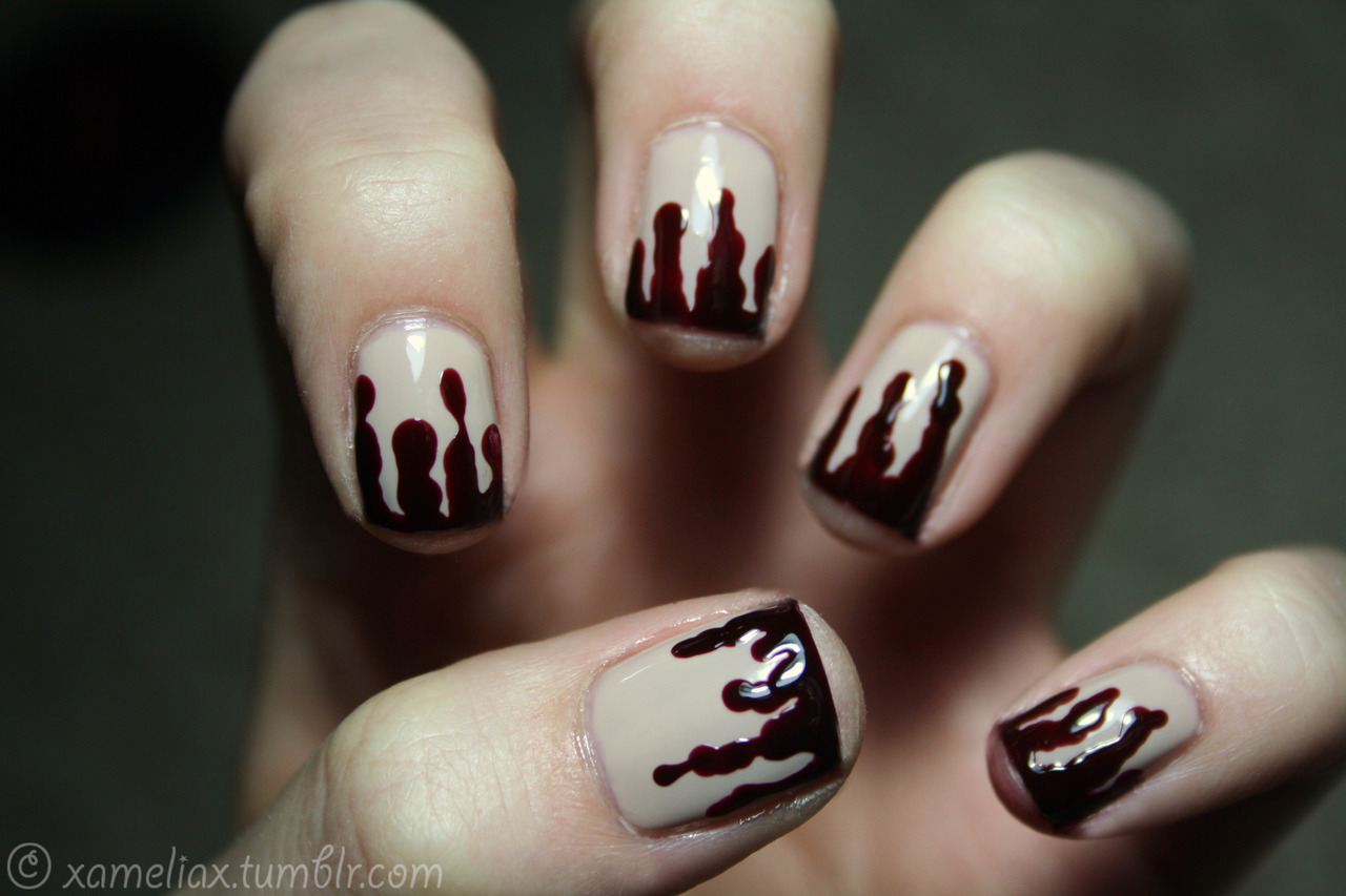 Blood Drip Manicure, Halloween Nail Art Ideas