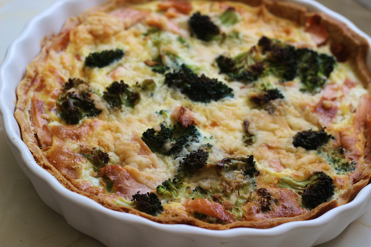 salmon and broccoli quiche recipe, uk food blog