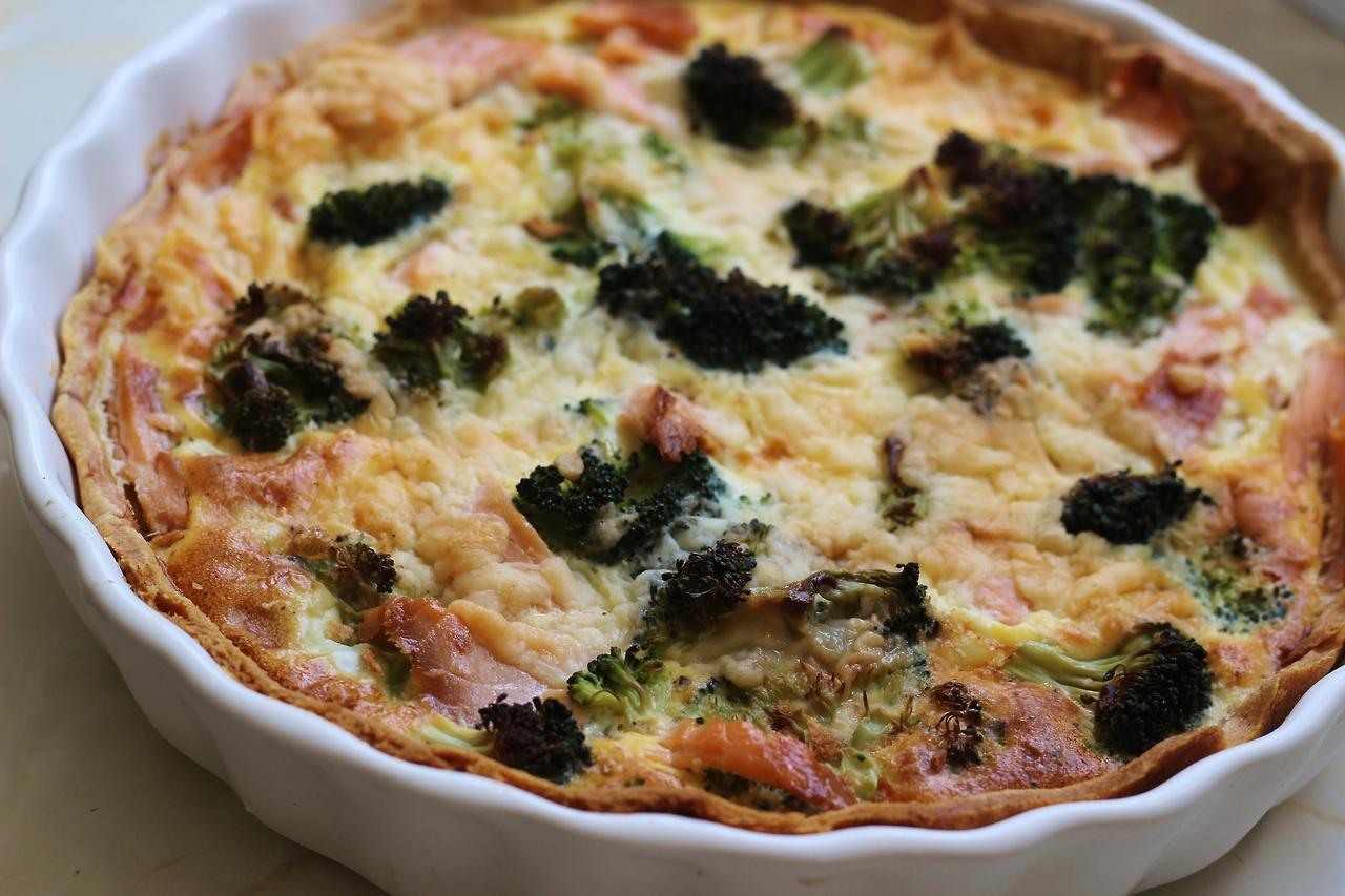 salmon and broccoli quiche recipe, uk food blog