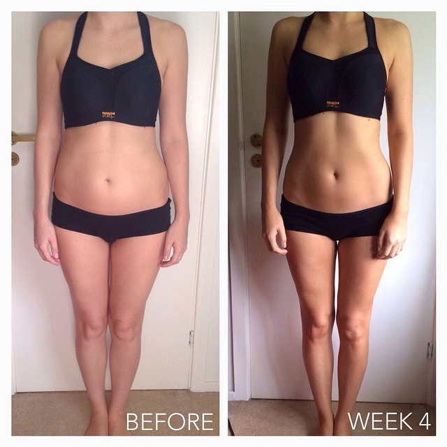 My Kayla Itsines Progress Week 4 | I'm a third of the way through my @kayla_itsines Bikini Body Guide now and I have to say that I'm really enjoying it ? I feel so much better in myself but I didn't expect to see so much of a difference in just 4 weeks...and I've had some cheat days too *shhhh*! ??? I'm loving both the nutritional guide and the workouts and am looking forward to seeing what the next 8 weeks have got in store for me! ??? I'm writing a blog on my BBG experience as I go along with more photos and tips, you can find me at: kaylaitsinesblogreview.tumblr.com ? #lbloggers #kaylaitsines #bikinibodyguide #excusemypants #kayla_itsines #bikinibodyguide #progress #beforeandafter #week4 #transformation #diet #lifestylechange #healthyliving #weightloss #review #fitness #fitspo