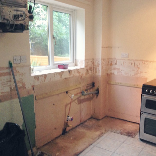Back home a day and our kitchen has already been destroyed! ? The house looks like a building site but I'm SO excited to watch our brand new kitchen appear! ??? #lbloggers #DIY #excitingtimes #newkitchen #couple #movingin