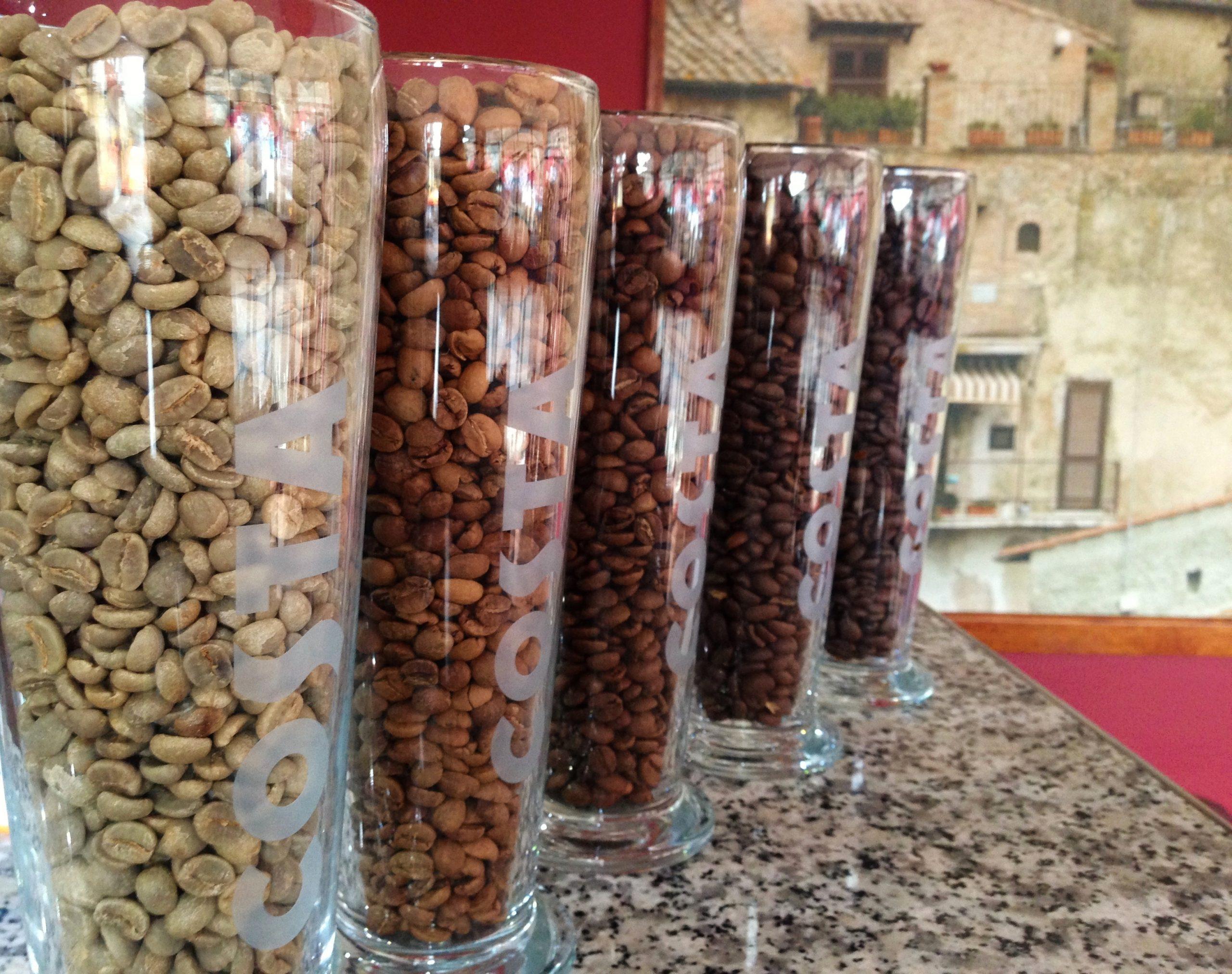 Costa coffee, coffee beans, coffee bean jar