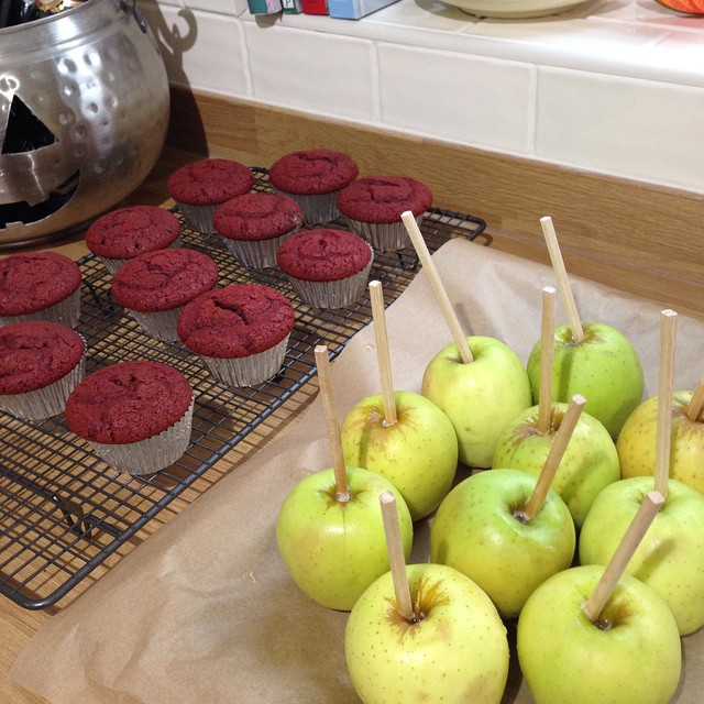 Baking and toffee apple making for our Halloween housewarming party tonight! ???? #lbloggers #halloween #housewarming #baking #redvelvet #toffeeapples #diy