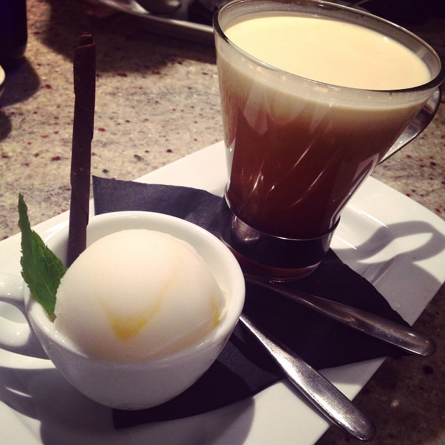 Lemon Curd Sorbet and an Irish favourite ?☕️ #lbloggers #foodienight #lemoncurd #irishcoffee #dessert