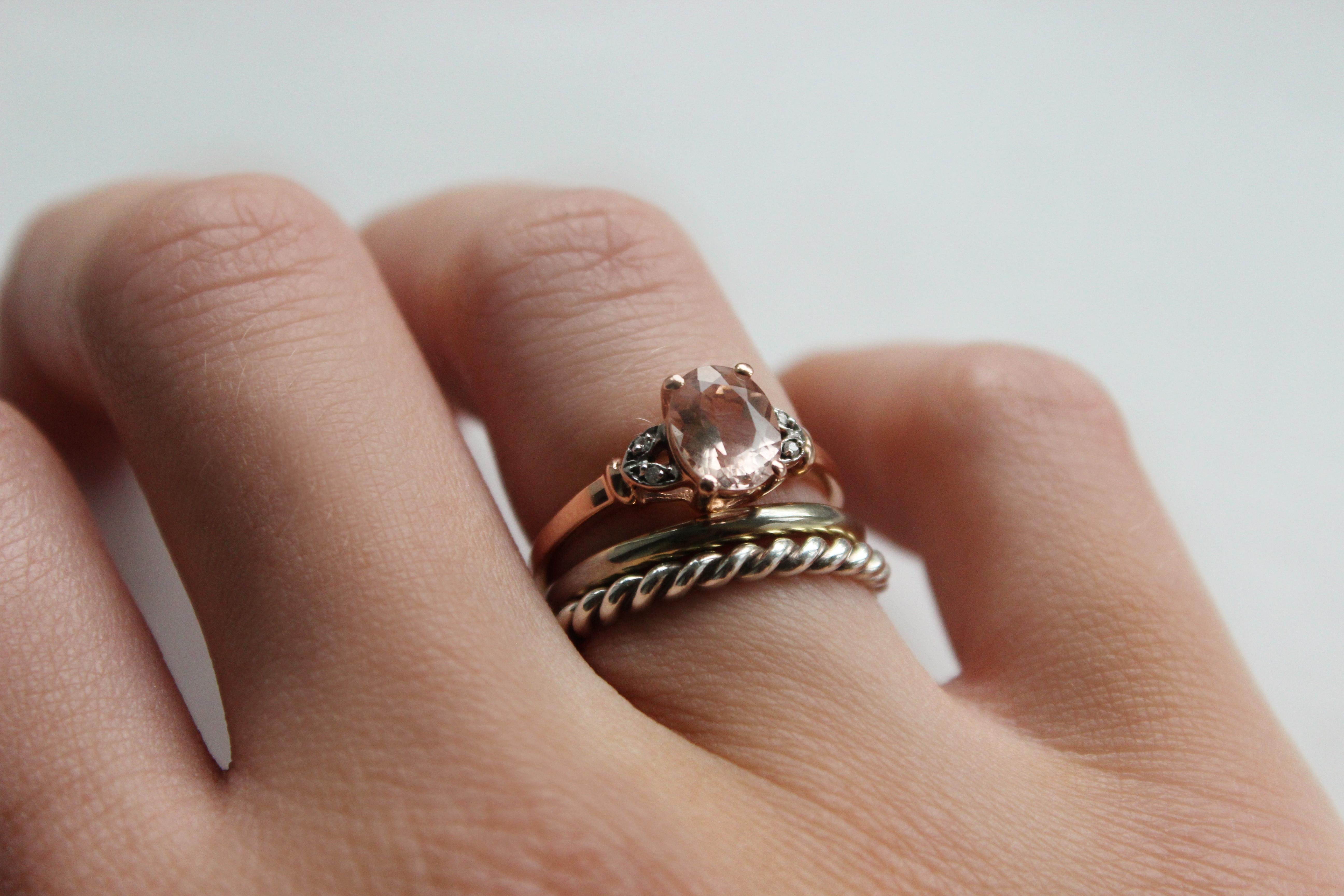 gemporia, morganite and rose gold ring