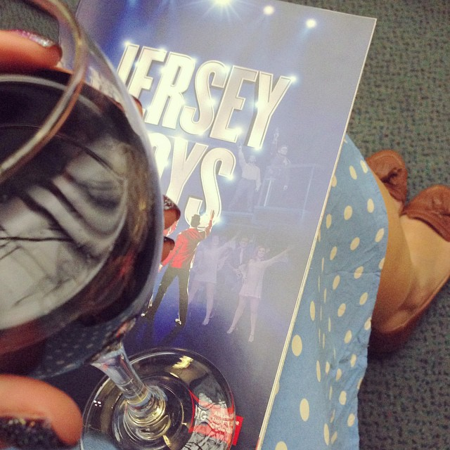Tonight with @gingergirlsays - @JerseyBoysUK and a nice glass of red! ?? #lbloggers #jerseyboys #theatre #musical
