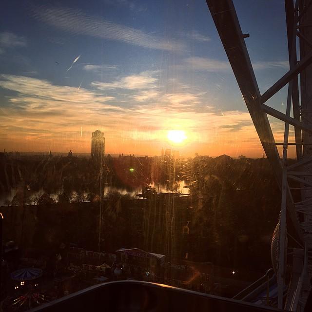 Sunset at the top of the big wheel ? #lbloggers #weekendaway #london #winterwonderland #meandhim