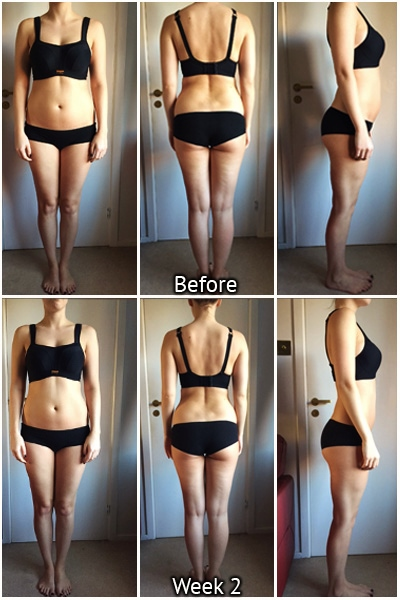 kayla itsines week 2 progress, kayla itsines before and after, kayla itsins progress photos