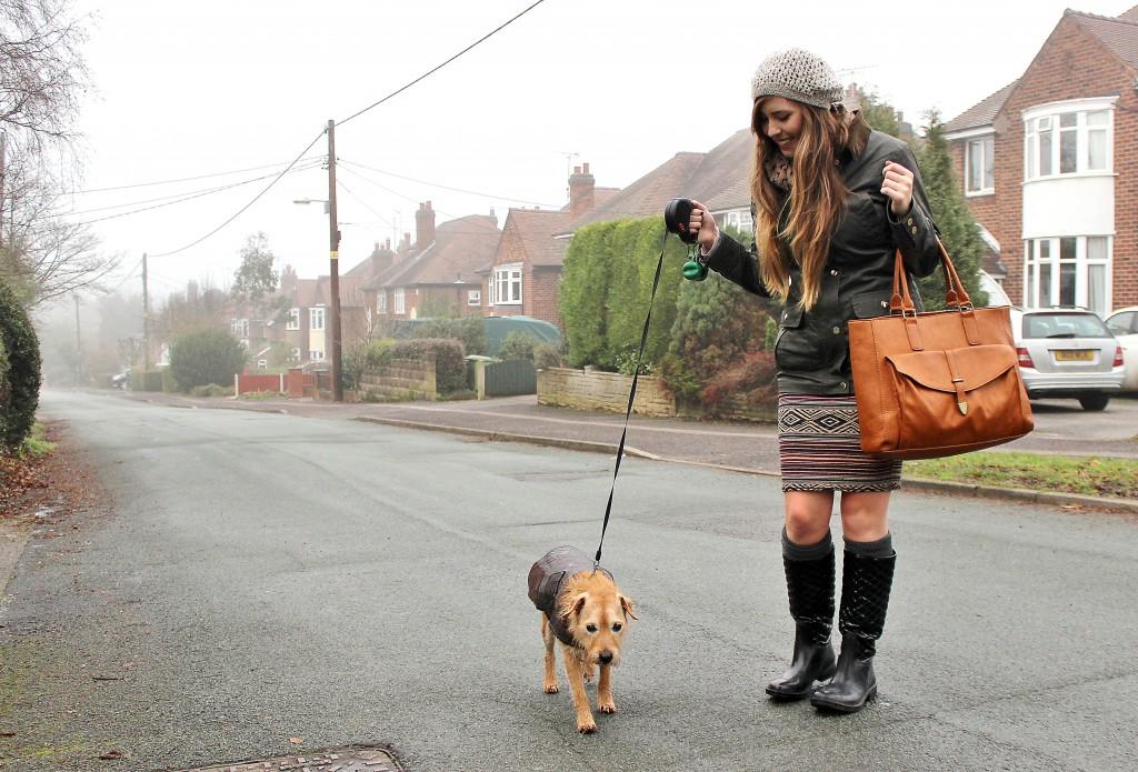 dog walking outfit, dog fashion, barbour coat dupe