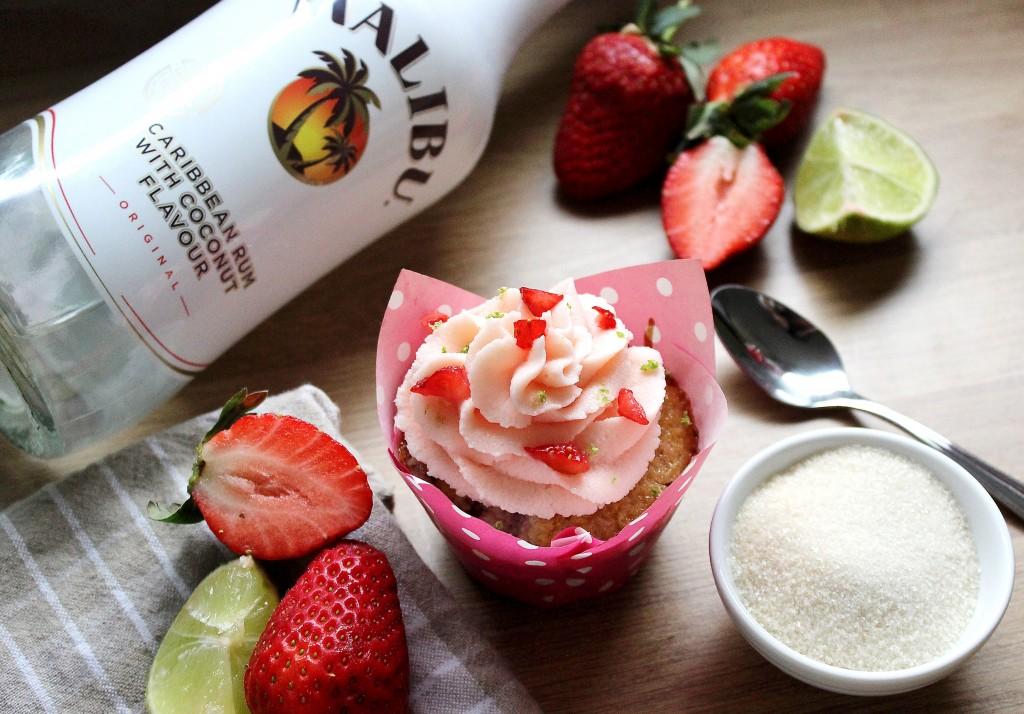 Strawberry Malibu Cupcakes
