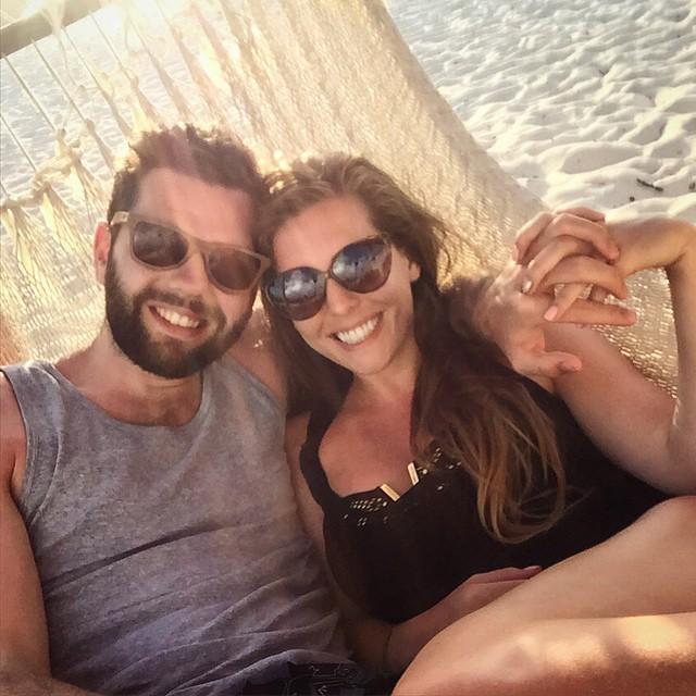 Sunset cuddles on the beach ?? #lbloggers #holiday #mexico #royaltonrivieracancun #sunset