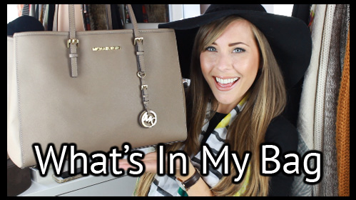 xameliax youtube, what's in my bag tag, michael Kors jet set tote taupe