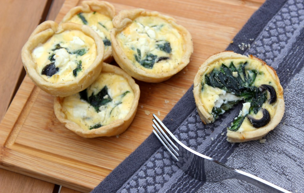Feta, Black Olive and Spinach Quiche Recipe, Mini Quiche Tart Recipe (6