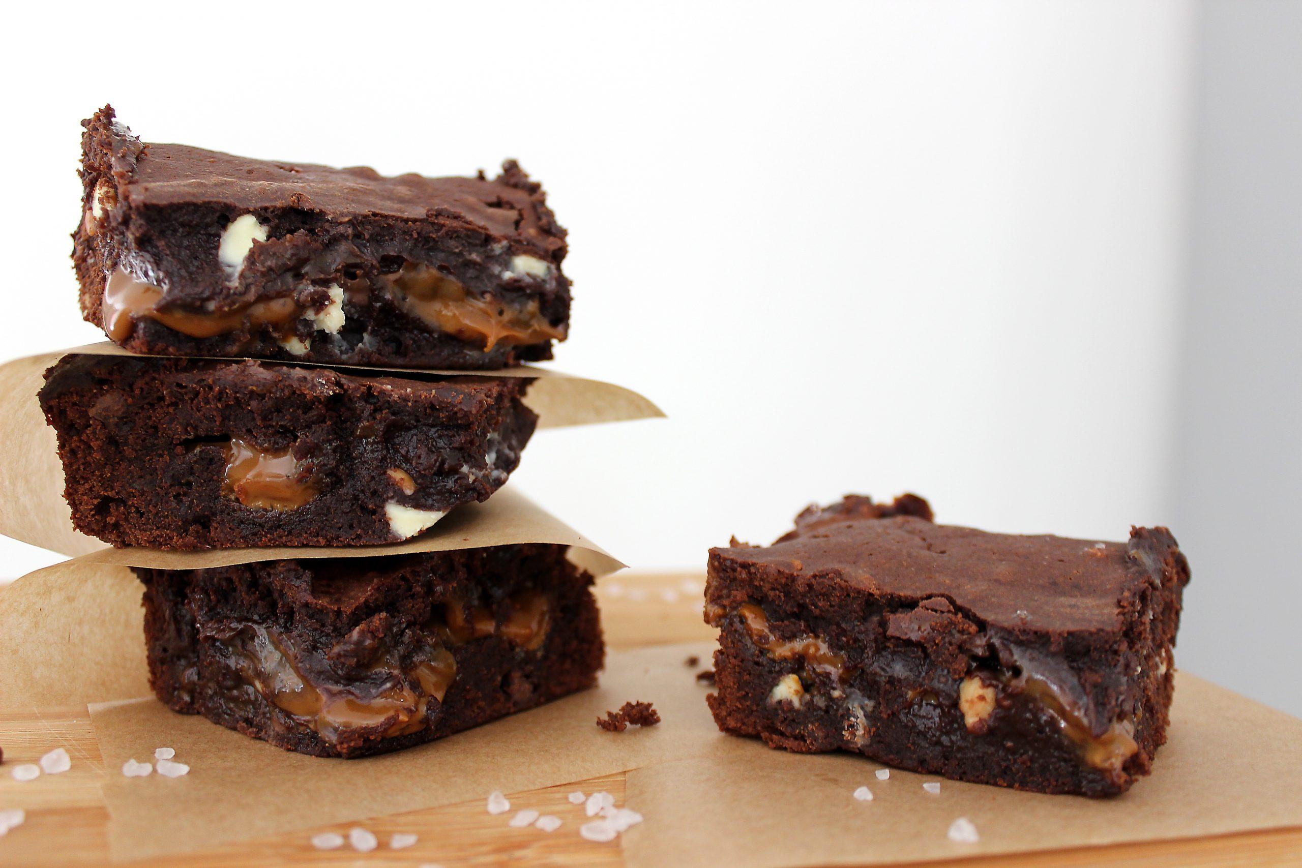Salted Caramel Peanut Butter Triple Chocolate Brownies
