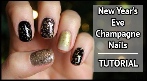 Champagne NYE nails