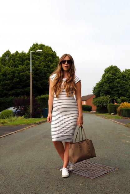 Primark White Striped T-Shirt Midi Dress