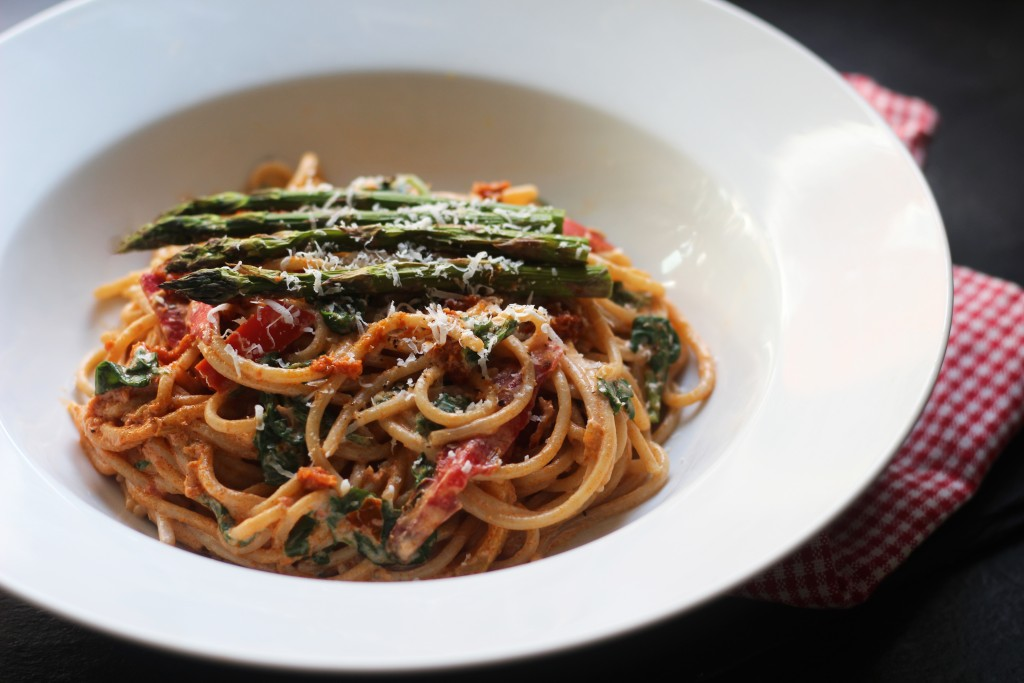 Roast veg and pesto spaghetti recipe