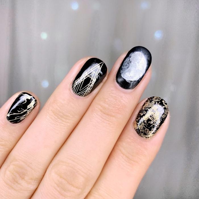 Simple Gel Nail Art Designs: Simple Geo Moon Nail Art Design