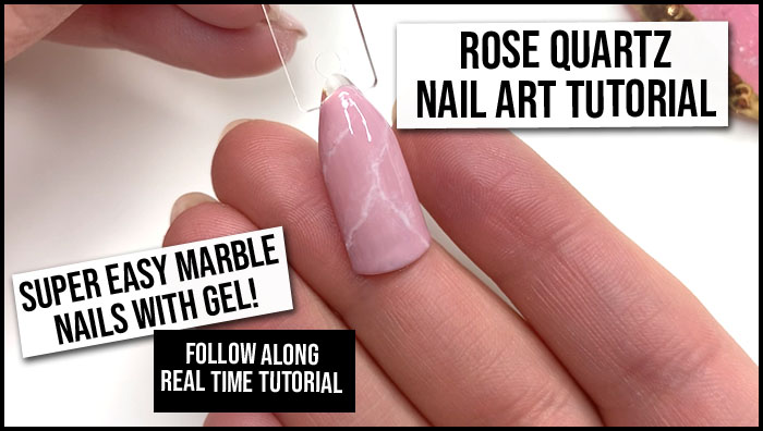 pink marble nails, rose quartz nails tutorial