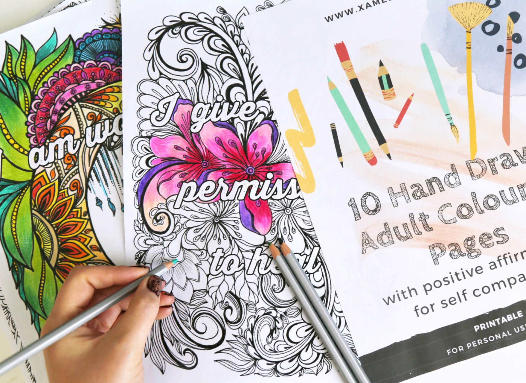 10 Hand Drawn Adult Colouring Pages